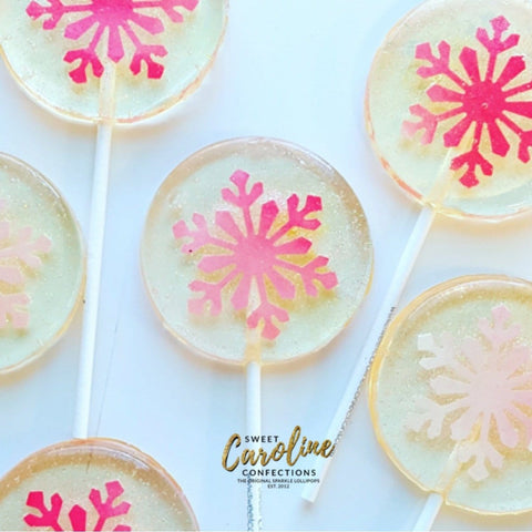 Pink Snowflake Lollipops - Set of 6
