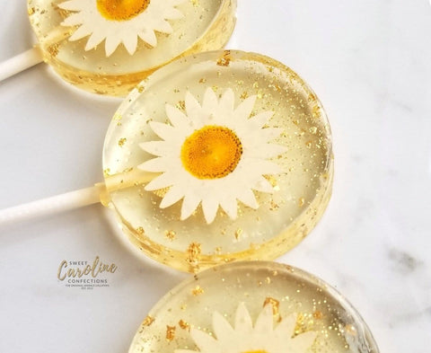 Daisy Flower Lollipops -Set of 6 - Sweet Caroline Confections | The Original Sparkle Lollipops
