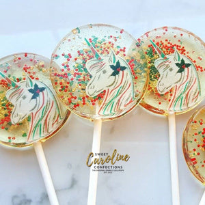 Christmas Unicorn Lollipops - Set of 6 - Sweet Caroline Confections | The Original Sparkle Lollipops