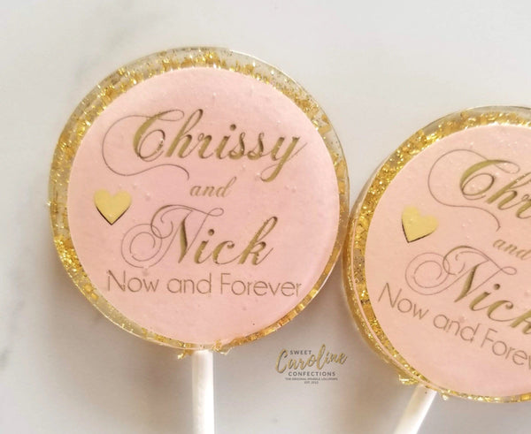 Light Pink and Gold Wedding Lollipops - Set of 6 - Sweet Caroline Confections | The Original Sparkle Lollipops