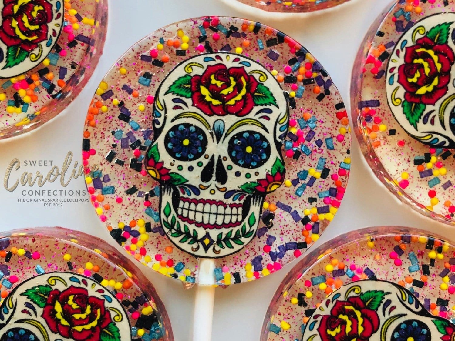 Dia de los Muertos Lollipops - Set of 6 - Sweet Caroline Confections | The Original Sparkle Lollipops