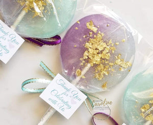 Purple Aqua Gold Watercolor Lollipops with Custom Tags- Set of 6 - Sweet Caroline Confections | The Original Sparkle Lollipops
