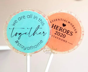 Essential Worker Thank you Lollipops - Set of 6 - Sweet Caroline Confections | The Original Sparkle Lollipops