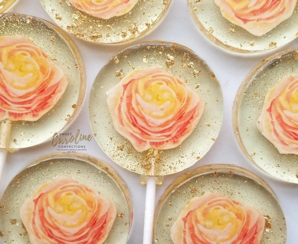 Peach Ranunculus Flower Lollipops -Set of 6 - Sweet Caroline Confections | The Original Sparkle Lollipops