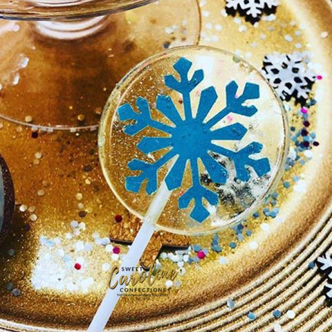 Blue Snowflake Lollipops - Set of 6 - Sweet Caroline Confections | The Original Sparkle Lollipops