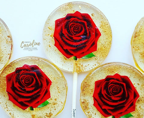Red Rose Lollipops -Set of 6 - Sweet Caroline Confections | The Original Sparkle Lollipops