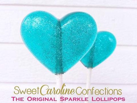 Aqua Blue Sparkle Lollipops - Set of 6 - Sweet Caroline Confections | The Original Sparkle Lollipops