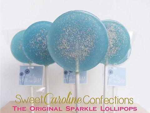 Light Blue and Silver Sparkle Lollipops - Set of 6 - Sweet Caroline Confections | The Original Sparkle Lollipops