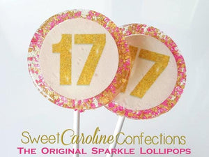 Hot Pink and Gold Number Lollipops - Set of 6 - Sweet Caroline Confections | The Original Sparkle Lollipops