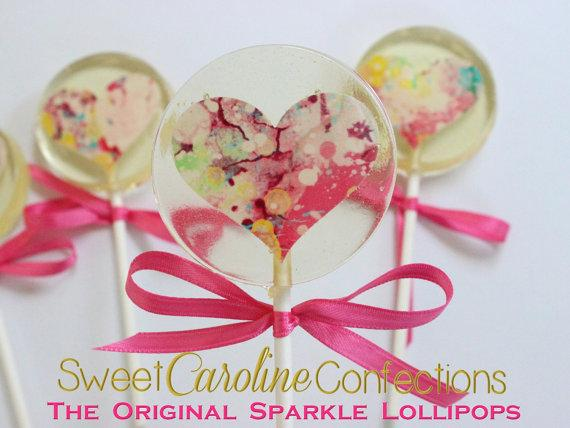 Watercolor Heart Lollipops - Set of 6 - Sweet Caroline Confections | The Original Sparkle Lollipops