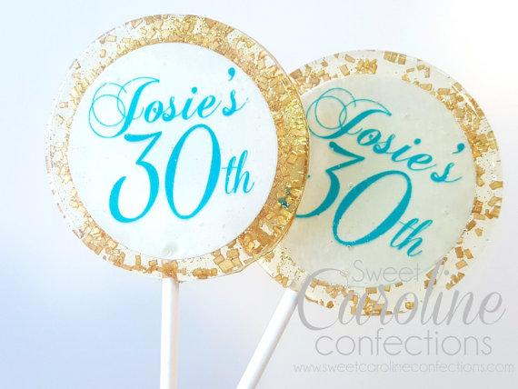 Gold and Turquoise Lollipops - Set of 6 - Sweet Caroline Confections | The Original Sparkle Lollipops