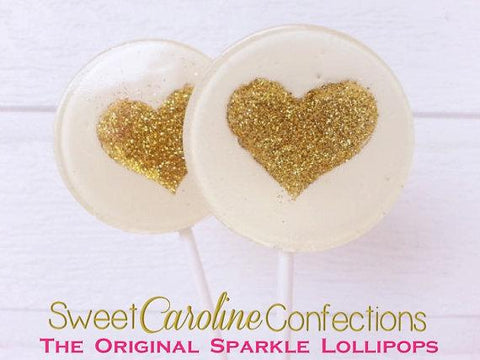 White and Gold Heart Lollipops - Set of 6 - Sweet Caroline Confections | The Original Sparkle Lollipops
