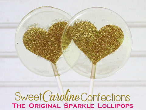 Gold Sparkle Heart Sparkle Lollipop - Set of 6 - Sweet Caroline Confections | The Original Sparkle Lollipops