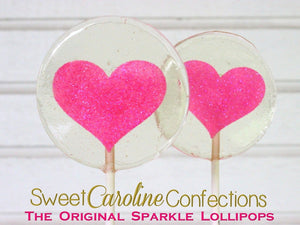 Hot Pink Sparkle Heart Lollipops - Set of 6 - Sweet Caroline Confections | The Original Sparkle Lollipops