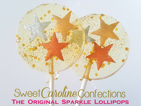 Gold and Silver Star Lollipops - Set of 6 - Sweet Caroline Confections | The Original Sparkle Lollipops