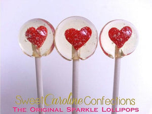 Red Heart Sparkle Lollipops - Set of 6 - Sweet Caroline Confections | The Original Sparkle Lollipops