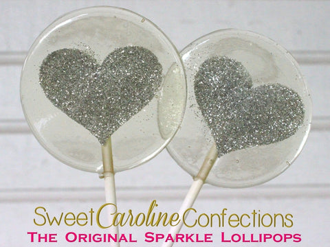 Silver Sparkle Heart Lollipops - Set of 6 - Sweet Caroline Confections | The Original Sparkle Lollipops