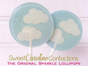 Light Blue and White Cloud Lollipops - Set of 6 - Sweet Caroline Confections | The Original Sparkle Lollipops