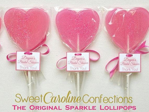 Bright Pink Sparkle Lollipops with Tags- Set of 6 - Sweet Caroline Confections | The Original Sparkle Lollipops