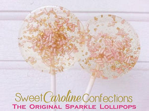 Light Pink and Gold Sparkle Lollipops - Set of 6 - Sweet Caroline Confections | The Original Sparkle Lollipops