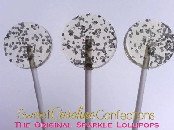 Black Hawaiian Sea Salt Lollipops - Set of 6 - Sweet Caroline Confections | The Original Sparkle Lollipops