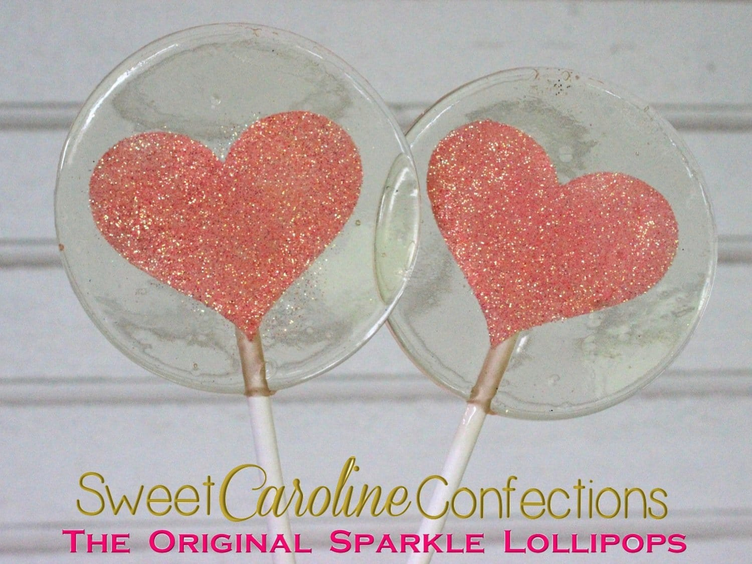 Light Peach Sparkle Heart Lollipop - Set of 6 - Sweet Caroline Confections | The Original Sparkle Lollipops