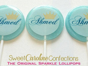 Light Blue Crown Lollipops - Set of 6 - Sweet Caroline Confections | The Original Sparkle Lollipops