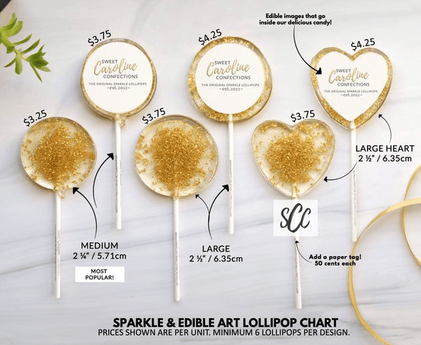 Gold Lollipops with Tags- Set of 6 - Sweet Caroline Confections | The Original Sparkle Lollipops