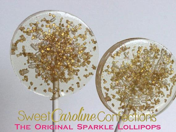 Gold and White Sparkle Lollipops - Set of 6 - Sweet Caroline Confections | The Original Sparkle Lollipops