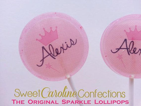 Pink Princess Lollipops - Set of 6 - Sweet Caroline Confections | The Original Sparkle Lollipops