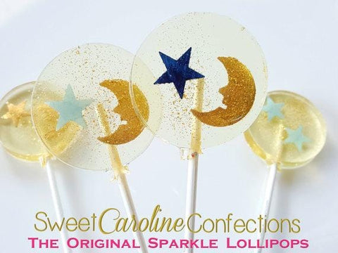 Gold Moon and Blue Star Lollipops - Set of 6 - Sweet Caroline Confections | The Original Sparkle Lollipops
