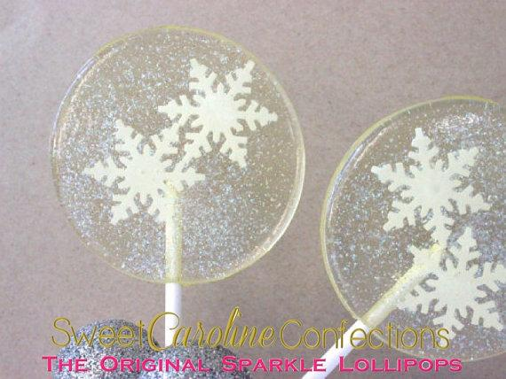 White Snowflake Lollipops - Set of 6 - Sweet Caroline Confections | The Original Sparkle Lollipops