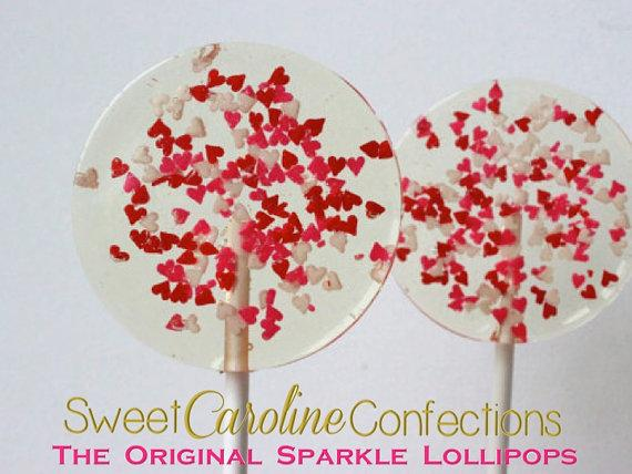 Red and Pink Tiny Heart Sparkle Lollipops - Set of 6 - Sweet Caroline Confections | The Original Sparkle Lollipops