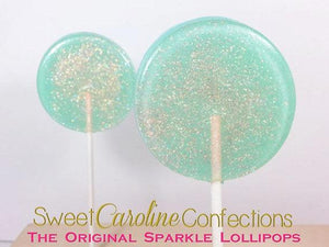 Seafoam Green and Peach Lollipops - Set of 6 - Sweet Caroline Confections | The Original Sparkle Lollipops