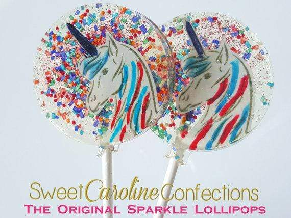 Rainbow Unicorn Lollipops - Set of 6 - Sweet Caroline Confections | The Original Sparkle Lollipops