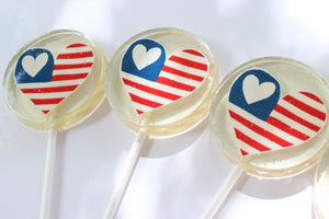 4th of July Heart Lollipops - Set of 6 - Sweet Caroline Confections | The Original Sparkle Lollipops
