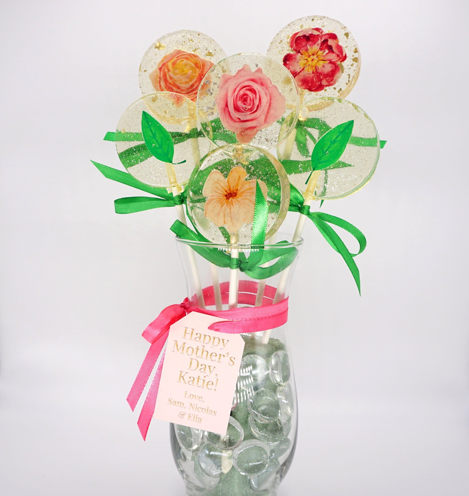 Spring Flower Lollipop Vase with Personalized Note, Mix of Flavors - Sweet Caroline Confections | The Original Sparkle Lollipops
