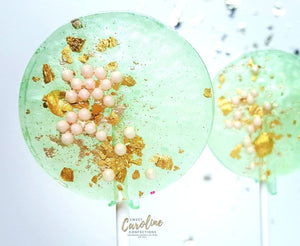 Mint Green Pink and Gold Sparkle Lollipops - Set of 6 - Sweet Caroline Confections | The Original Sparkle Lollipops