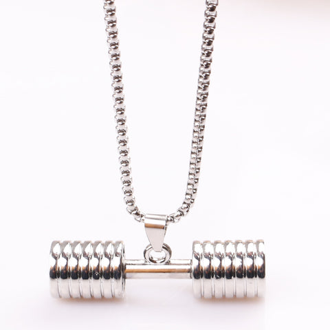Dumbbell Barbell long Pendant Necklace