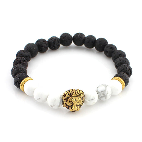DETERMINATION: Lava Stone Lion Yoga Chakra Bracelet