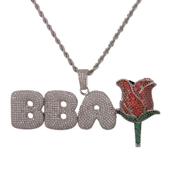 Bubble Letters With Rose Necklace