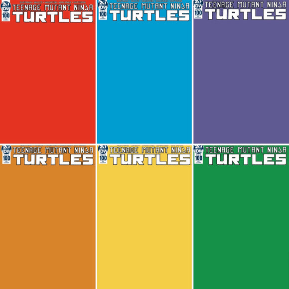 Teenage Mutant Ninja Turtles #100 Blank Variant SET (Red, Blue, Orange, Purple, Yellow, Green)