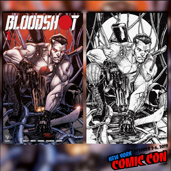 Bloodshot #1 Adelso Corona NYCC Color & B/W Virgin Variant SET