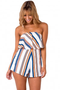 Orange Blue Striped Romper