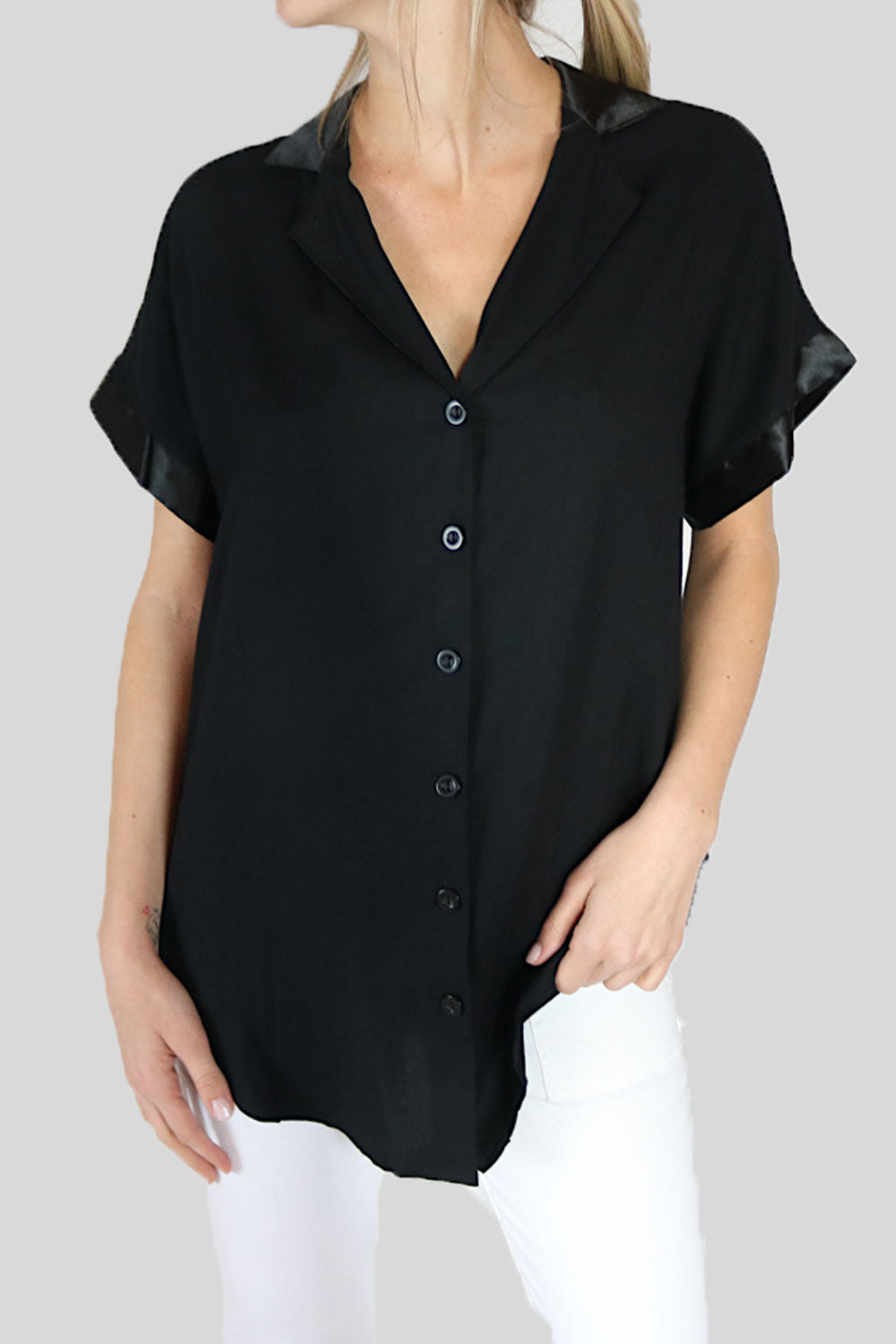 Black Button up Silk Sleeves