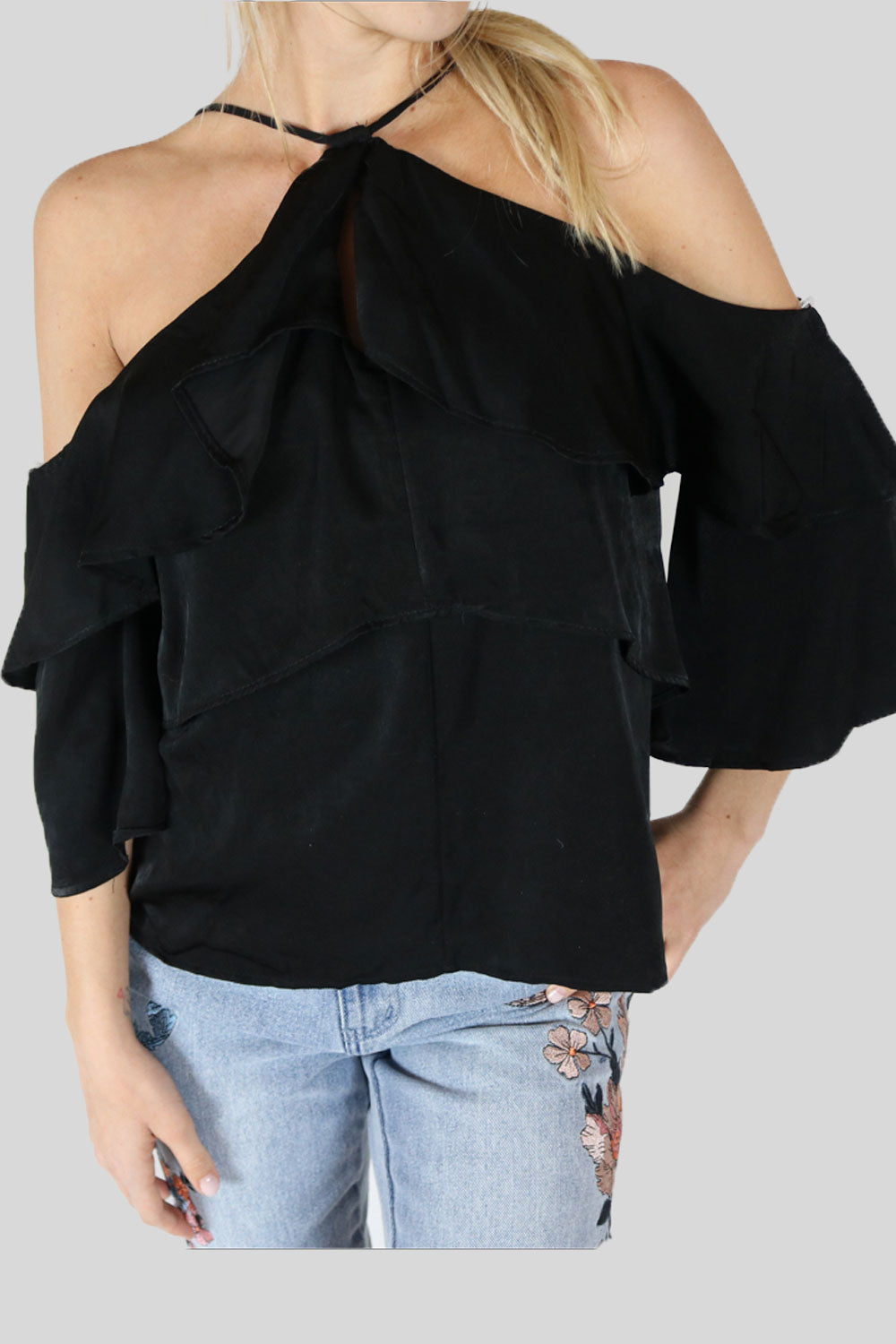 Black Ruffle Shoulder Shirt