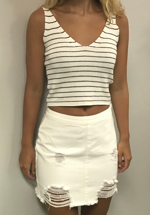Black and white striped tank