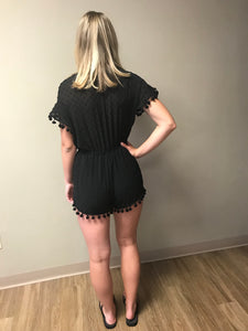 Black romper with Pom Pom trim