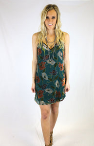Floral Velvet Detail Shift Dress