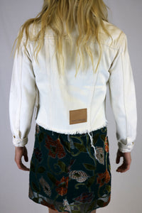 White Denim Frayed Jacket